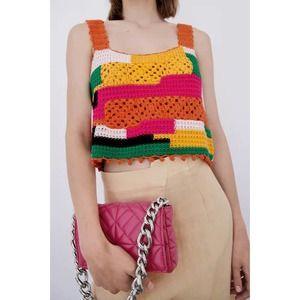 ZARA Fuchsia Quilted Chain Strap Shoulder Bag
